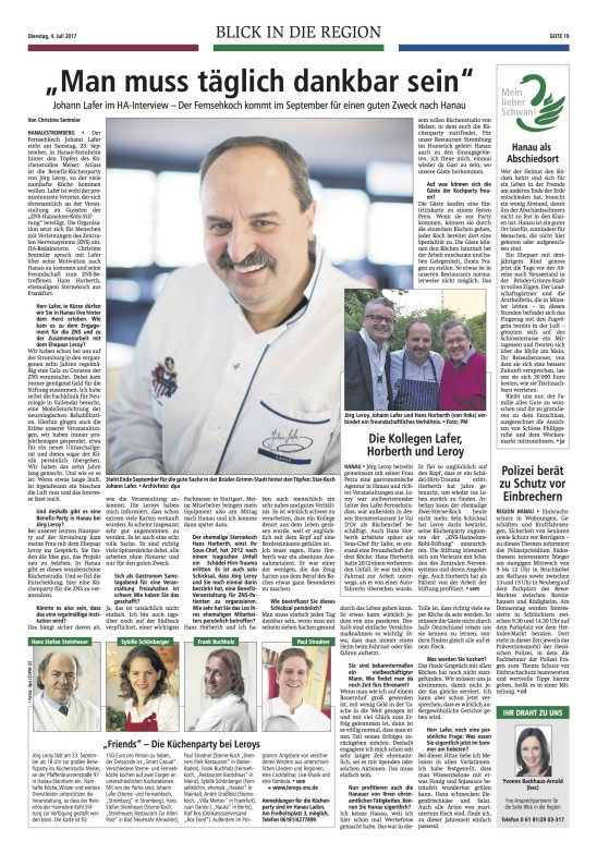 Benefiz-Küchenparty FRIENDS im Hanauer Anzeiger vom 04.07.2017